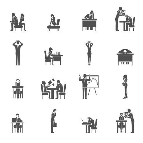 Conjunto de ícones de depressão vetor