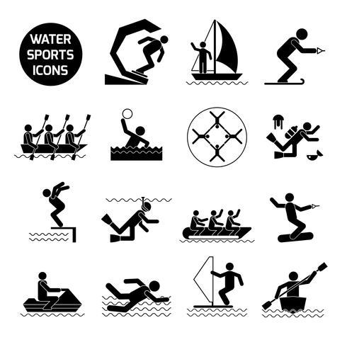 Esportes aquáticos ícones preto vetor