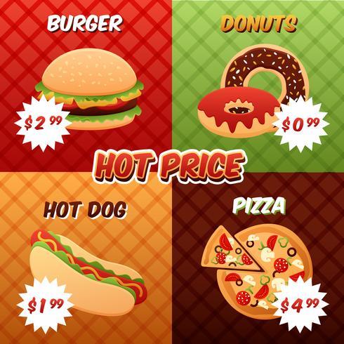 Conjunto de Poster de Fast Food vetor