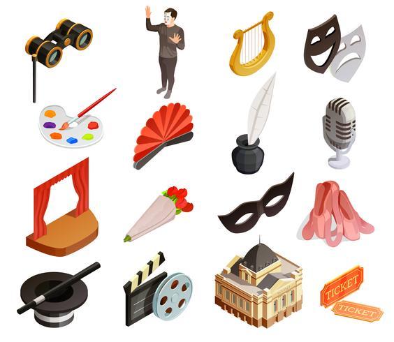 Conjunto de ícones de elementos de teatro vetor