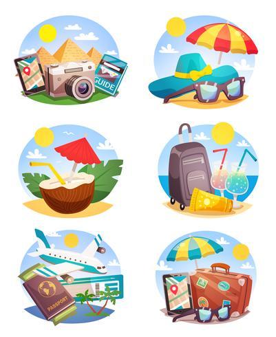Conjunto de composições de férias de verão vetor
