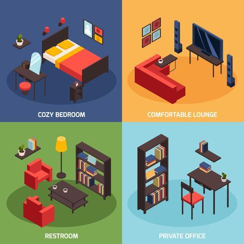 Conjunto de ícones de conceito de sala de estar vetor