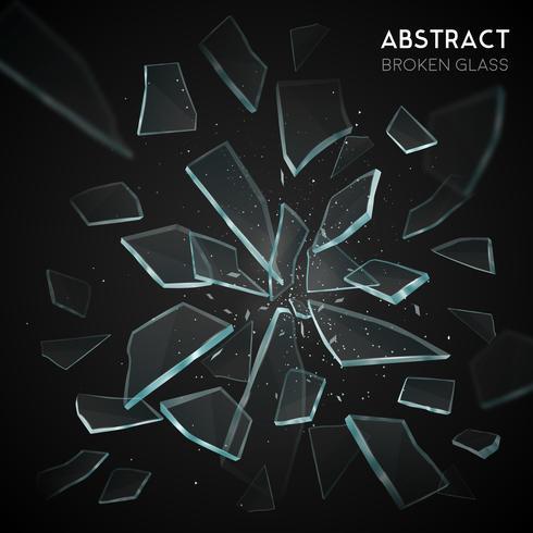 Fragmentos de vidro quebrado voando fundo escuro vetor