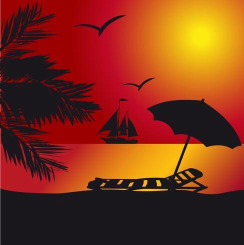 pôr do sol à beira-mar vetor