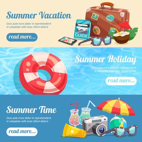 Conjunto de Banners de férias de verão vetor
