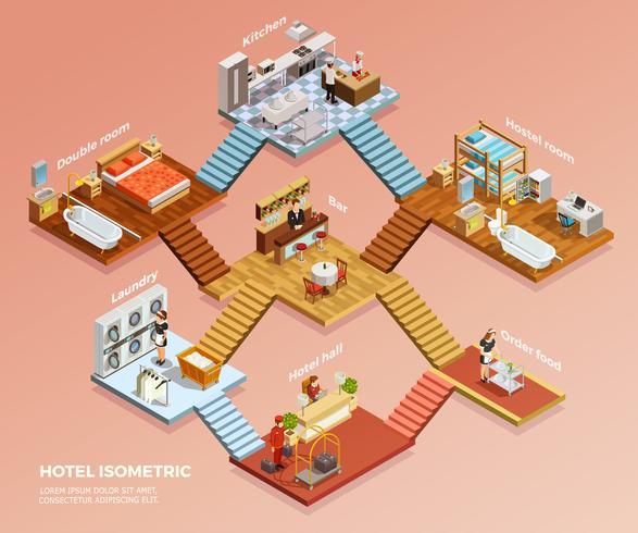 Composição isométrica do hotel vetor