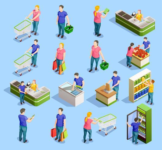 Coleção de elementos isométricos de supermercado vetor