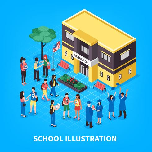 Ilustração isométrica de escola vetor