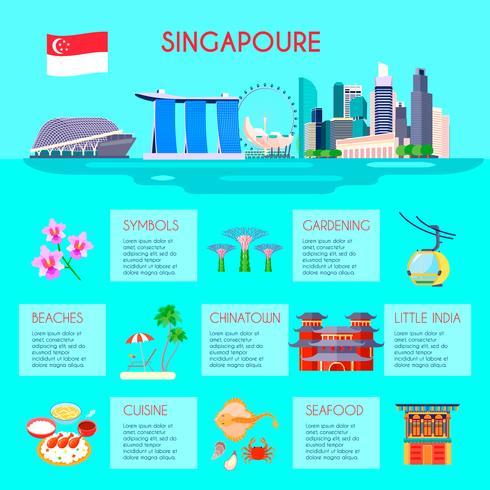 Infográfico de cultura de Singapura vetor