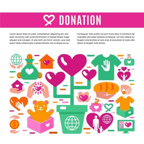 Página de informações para doação de caridade vetor
