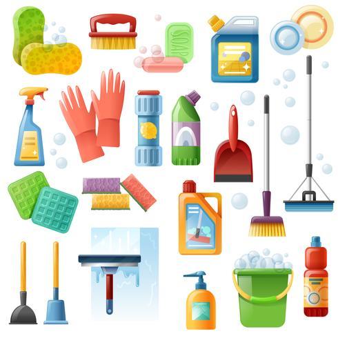 Conjunto de ícones plana de ferramentas de suprimentos de limpeza vetor