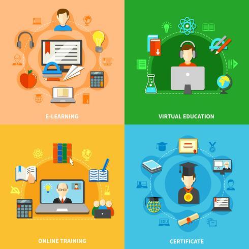 Quatro E Aprendizagem Icon Set vetor