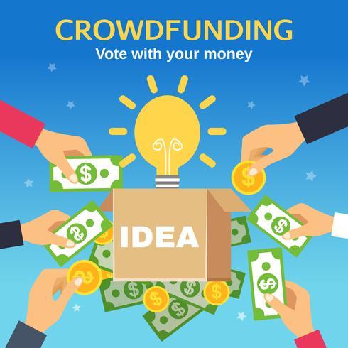 Ilustração vetorial de crowdfunding vetor