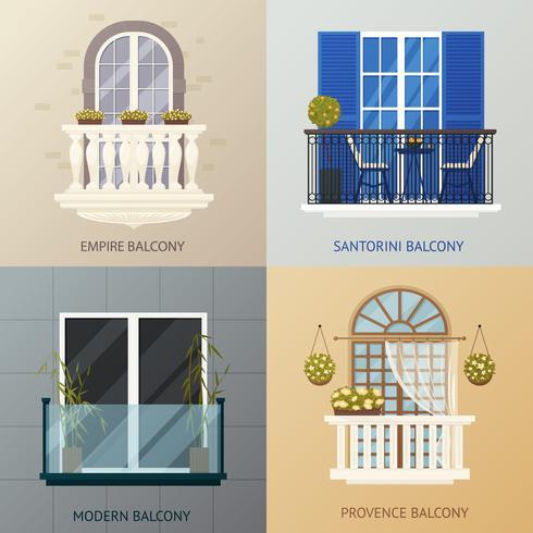 Conjunto de composições de design de varanda vetor