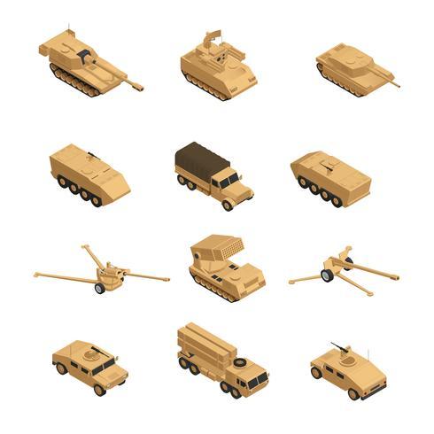 Conjunto de ícones isométrica de veículos militares vetor