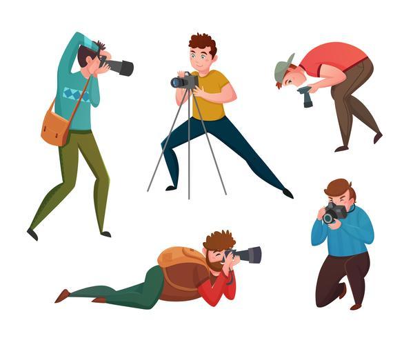 Fotógrafo masculino em poses diferentes vetor