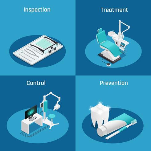 Conjunto de ícones isométrica de Odontologia Estomatologia vetor
