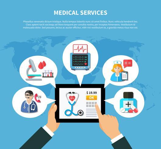 Design plano de serviços médicos on-line vetor