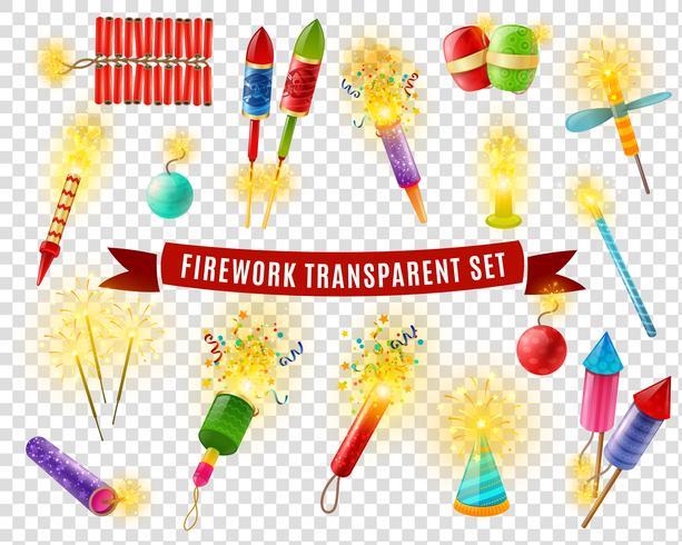 Conjunto de fundo transparente Firework Sparlers Firecrackers vetor