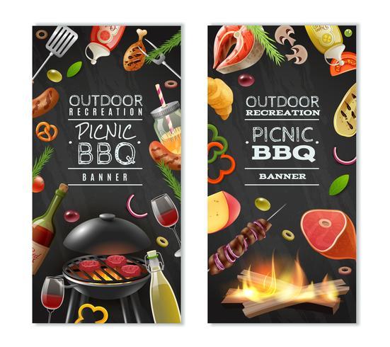 Banners verticais de churrasco para piquenique vetor