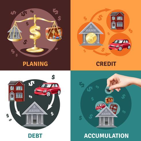 Conceito de crédito da dívida 4 ícones planas vetor