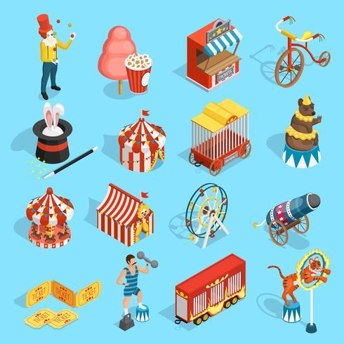 Conjunto de ícones isométrica de circo de viagens vetor