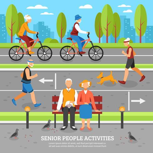 Fundo de atividades de pessoas velhas vetor