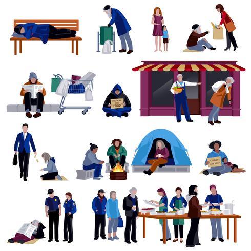 Conjunto de ícones de pessoas desabrigadas vetor