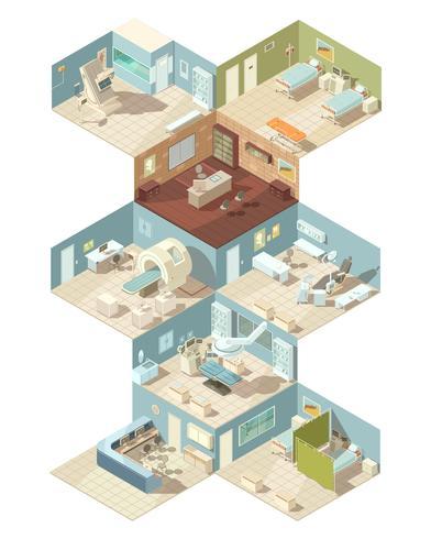 Conceito de Design isométrico dentro de hospital vetor