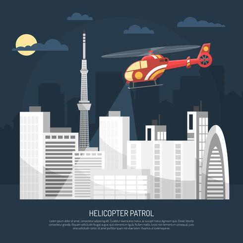 Ilustração de patrulha de helicóptero vetor