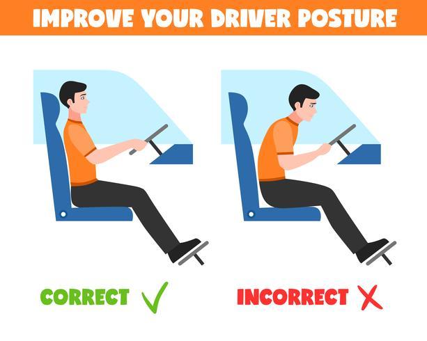 Posturas de espinha para ilustração de motorista vetor