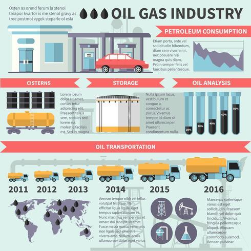Infografia de indústria de óleo de gás vetor