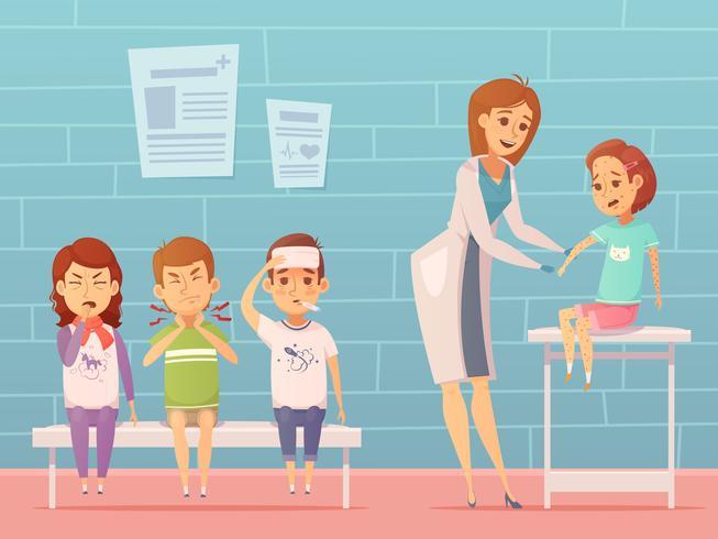 As crianças visitam composição pediatra vetor