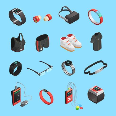Conjunto de ícones isométrica de tecnologia wearable vetor