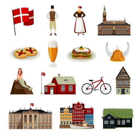 Conjunto de ícones de estilo simples de Dinamarca vetor