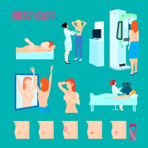 Conjunto de ícones de doença de mama vetor