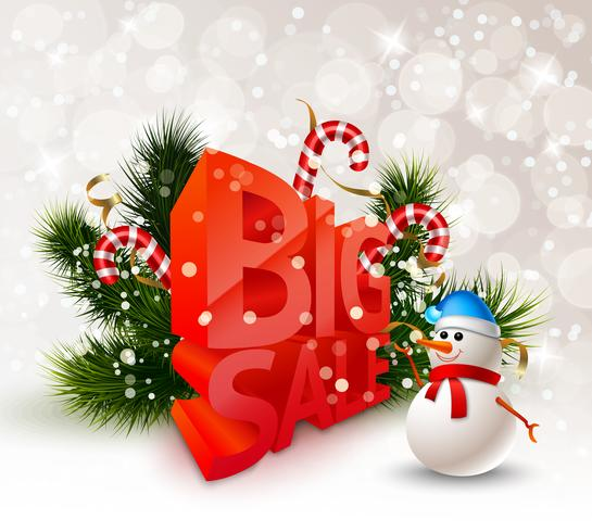 Cartaz de grande venda festiva de inverno vetor