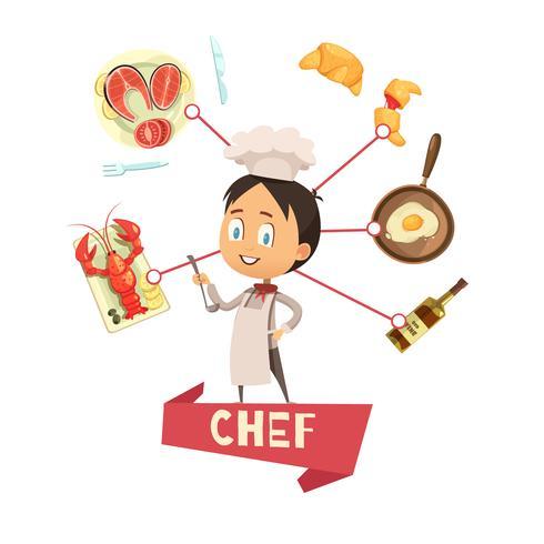 Chef Cartoon ilustração vetorial para crianças vetor