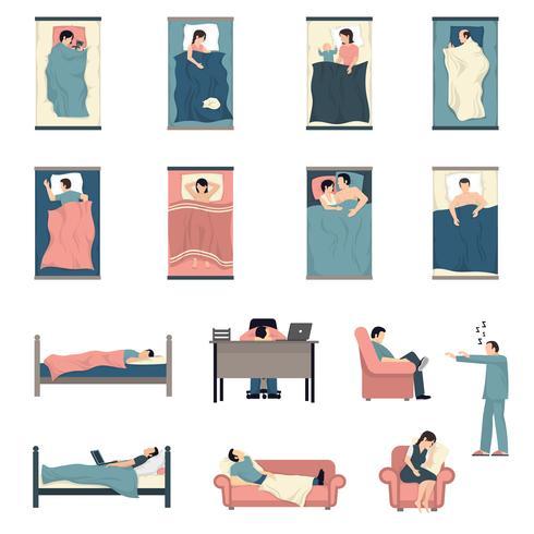 Conjunto de ícones plana de pessoas dormindo vetor