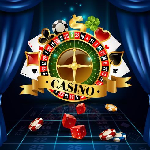 Poster de composição de símbolos de jogos noturnos de cassino vetor