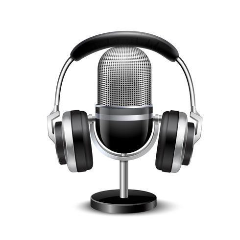 Microfone e fones de ouvido retrô imagem realista vetor