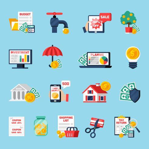 Conjunto de ícones de orçamento em casa vetor