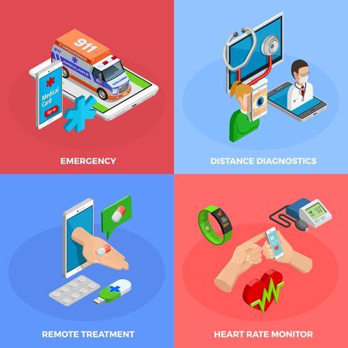 Conceito isométrico de saúde digital vetor