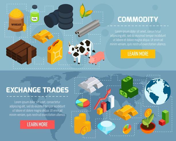 Conjunto de Banners horizontais de commodities vetor