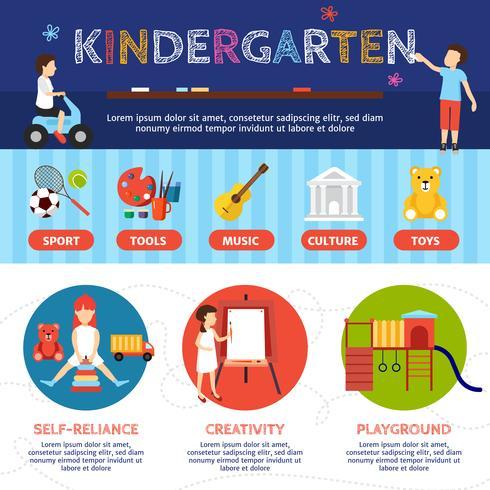 Conjunto de infográfico de jardim de infância vetor