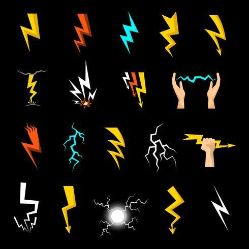 Conjunto de ícones de relâmpago vetor
