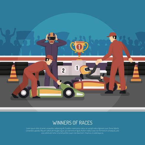Ilustração de corrida de motor de kart vetor