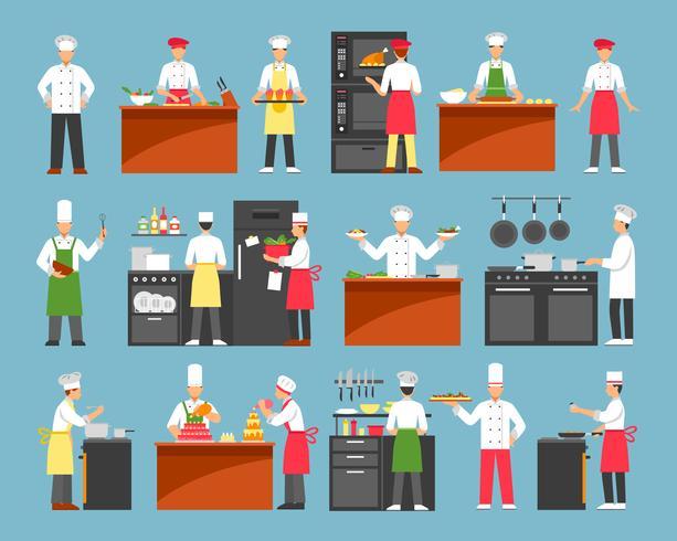 Conjunto de ícones decorativos de cozinha profissional vetor