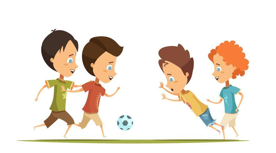 Meninos jogando futebol Cartoon ilustração de estilo vetor