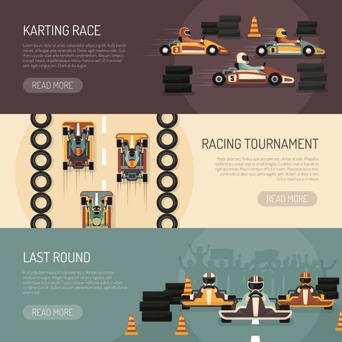Banners de corrida de automóveis de kart vetor